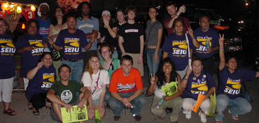 UMiami janitors and students rally at the Orange Bowl